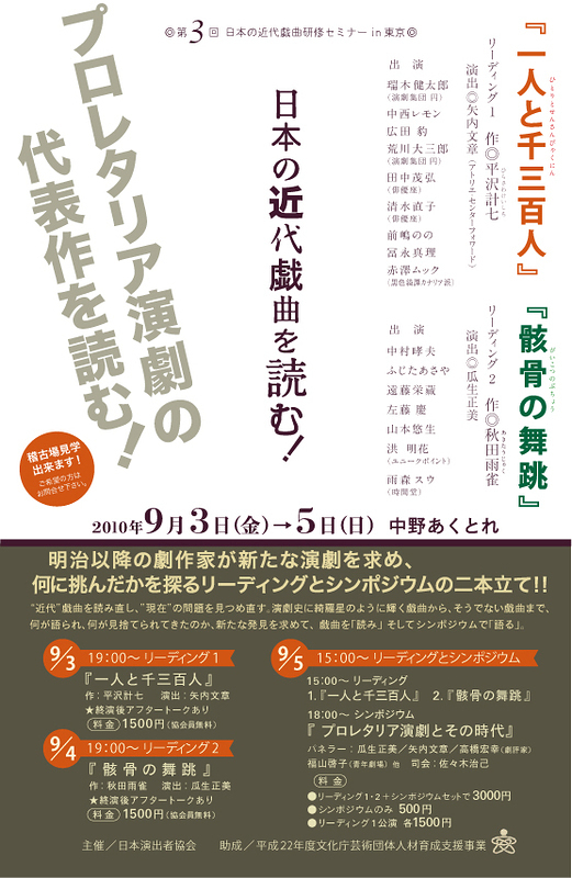 平沢計七「一人と千三百人」/秋田雨雀「骸骨の舞跳」