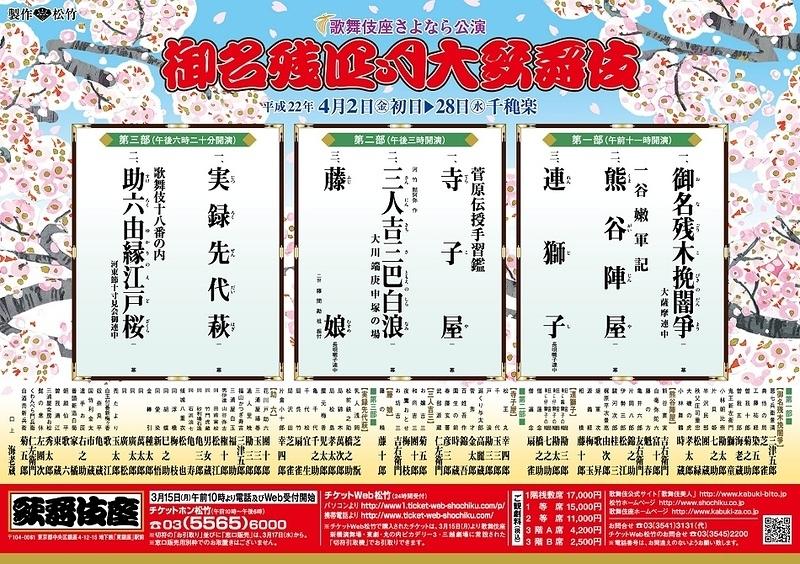 御名残四月大歌舞伎