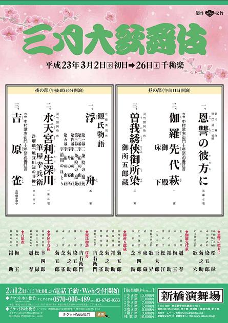 三月大歌舞伎【3/11・12・17・18日休演】