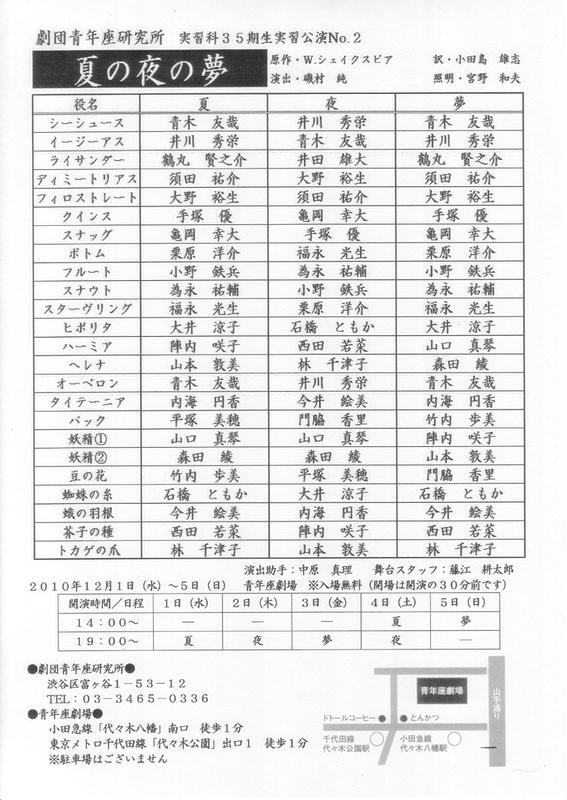 実習科35期生実習公演No.2 「夏の夜の夢」