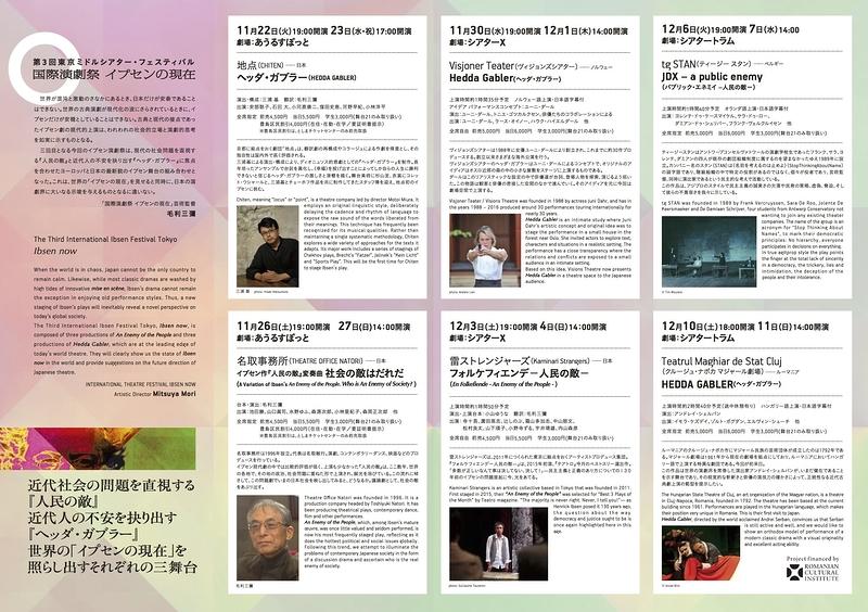 国際演劇祭 イプセンの現在 tgSTAN『パブリック・エネミイ人民の敵』、アンドレイ・シェルバン『ヘッダ・ガブラー』
