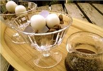 レンズ豆と氷寒天のあんみつ